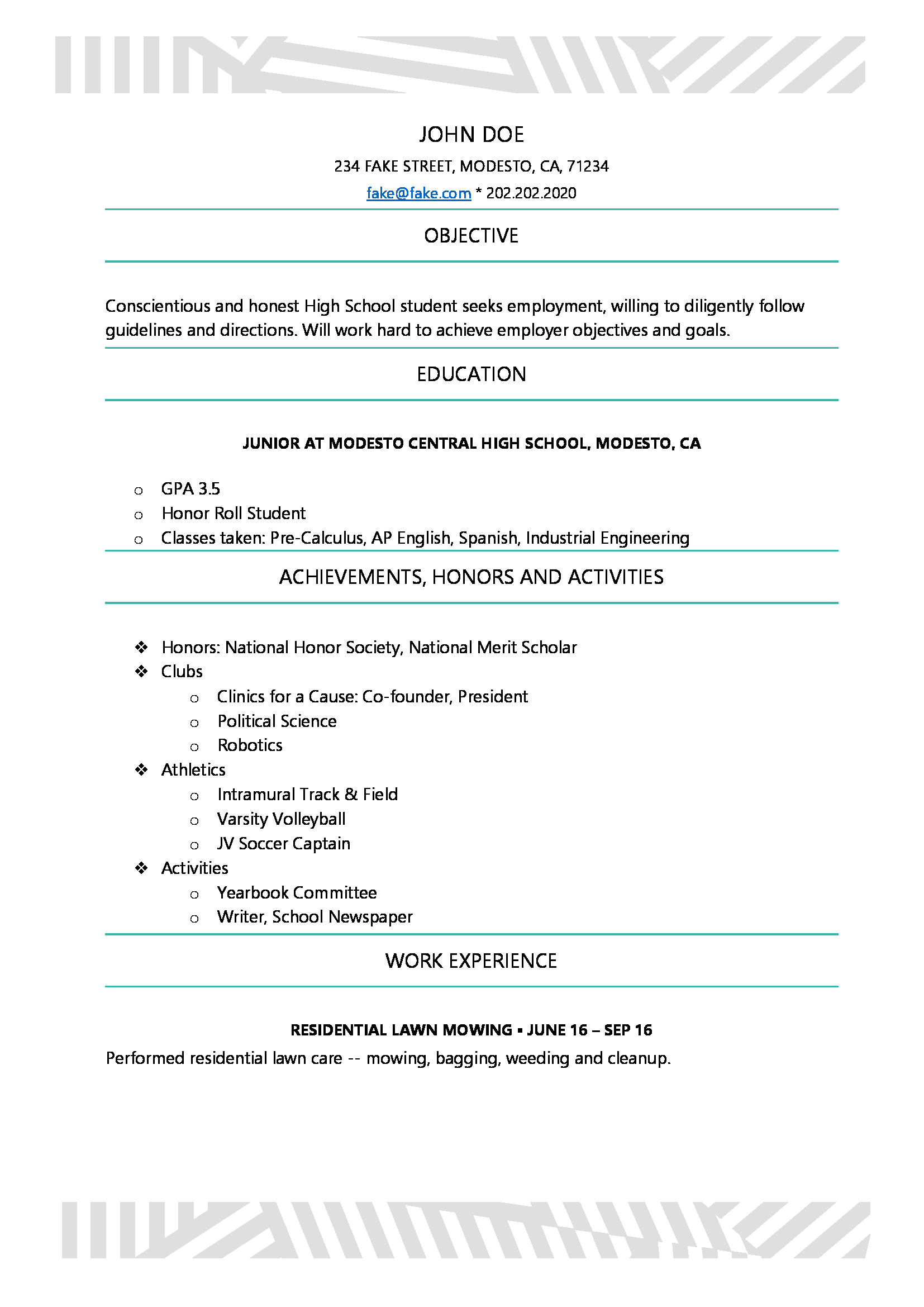 High school resume resumes perfect for high school students select yelopaper Choice Image