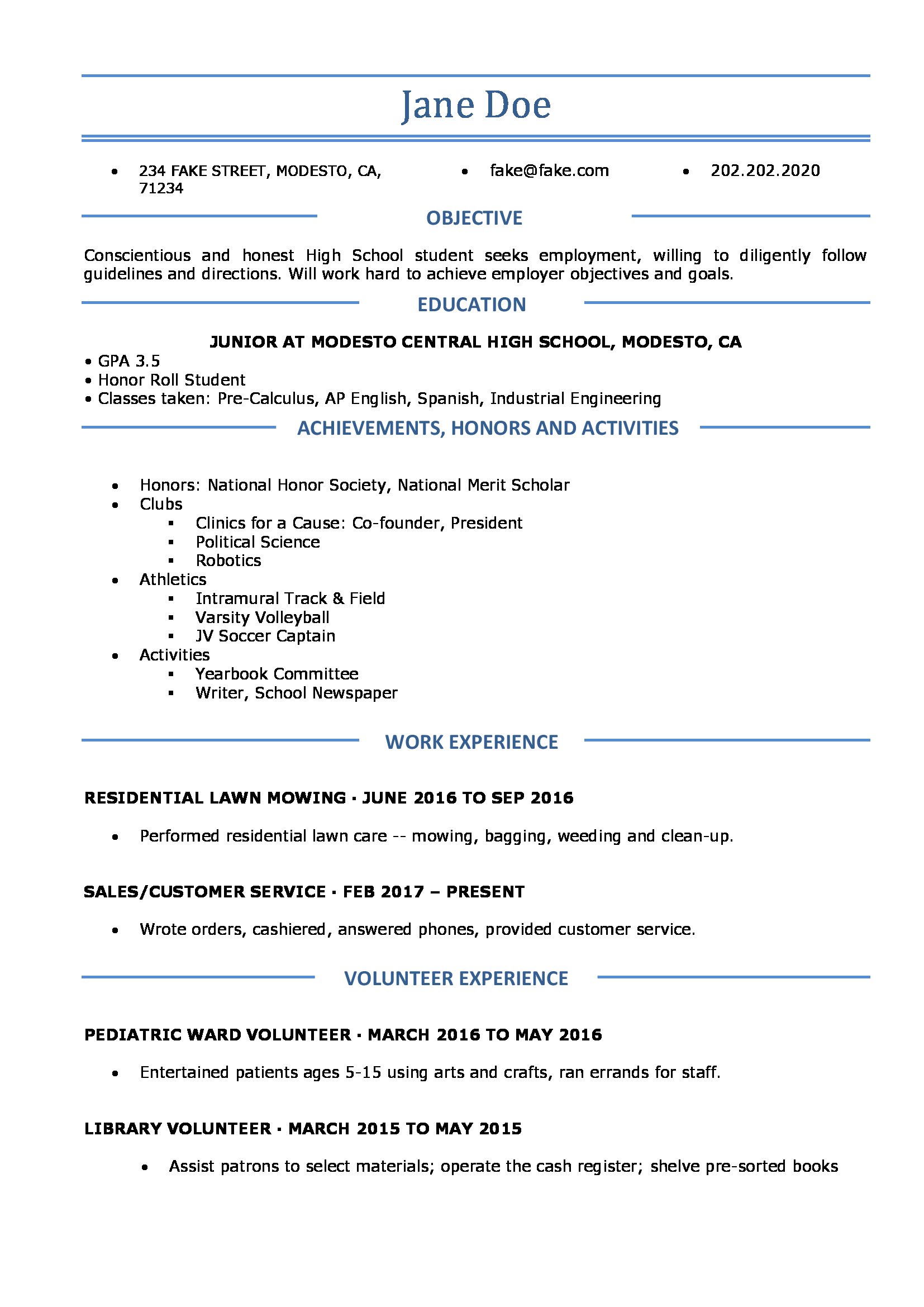 Resume Builder For High School Students