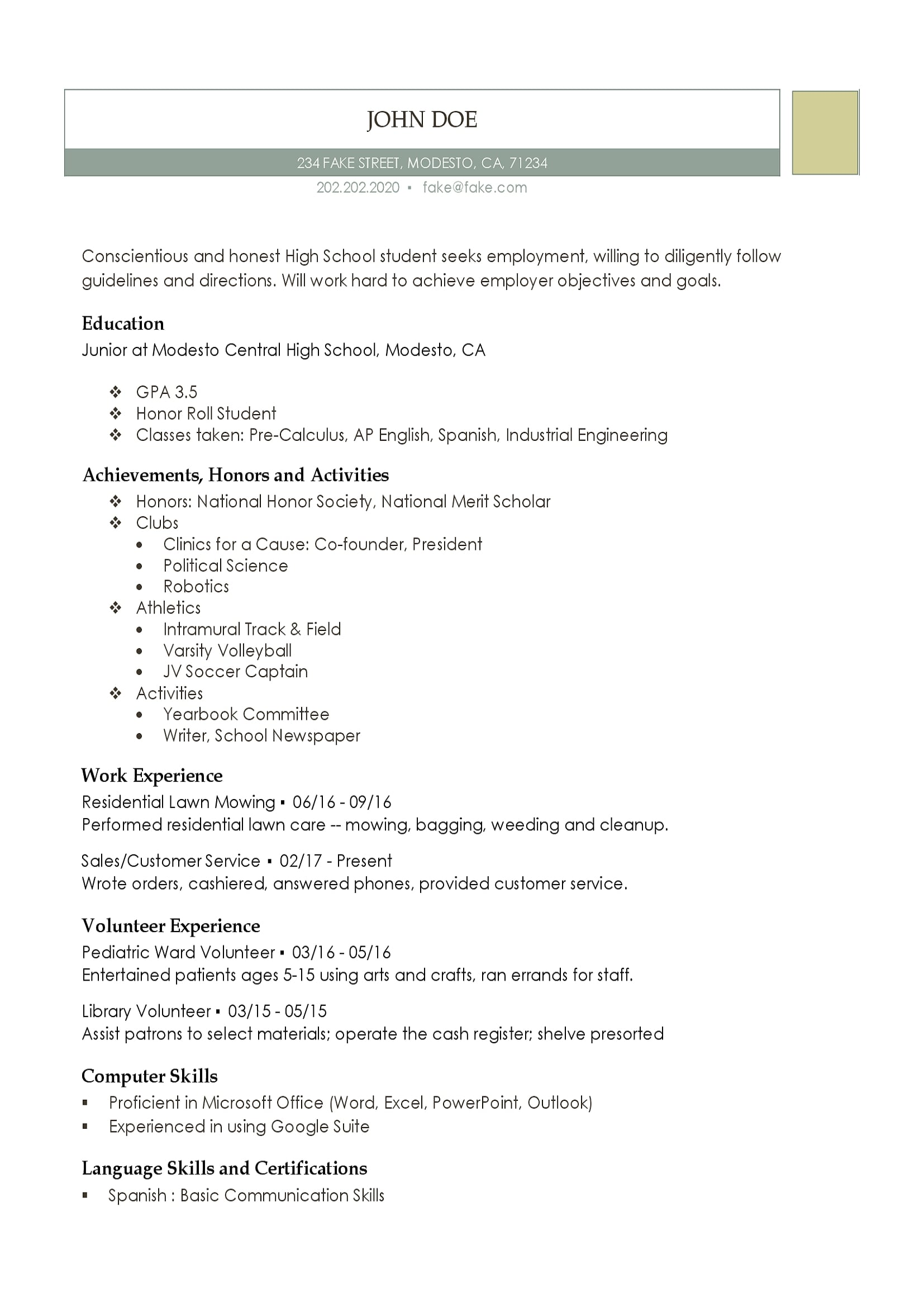 high school resume resumes perfect for high school students - School Resume Template