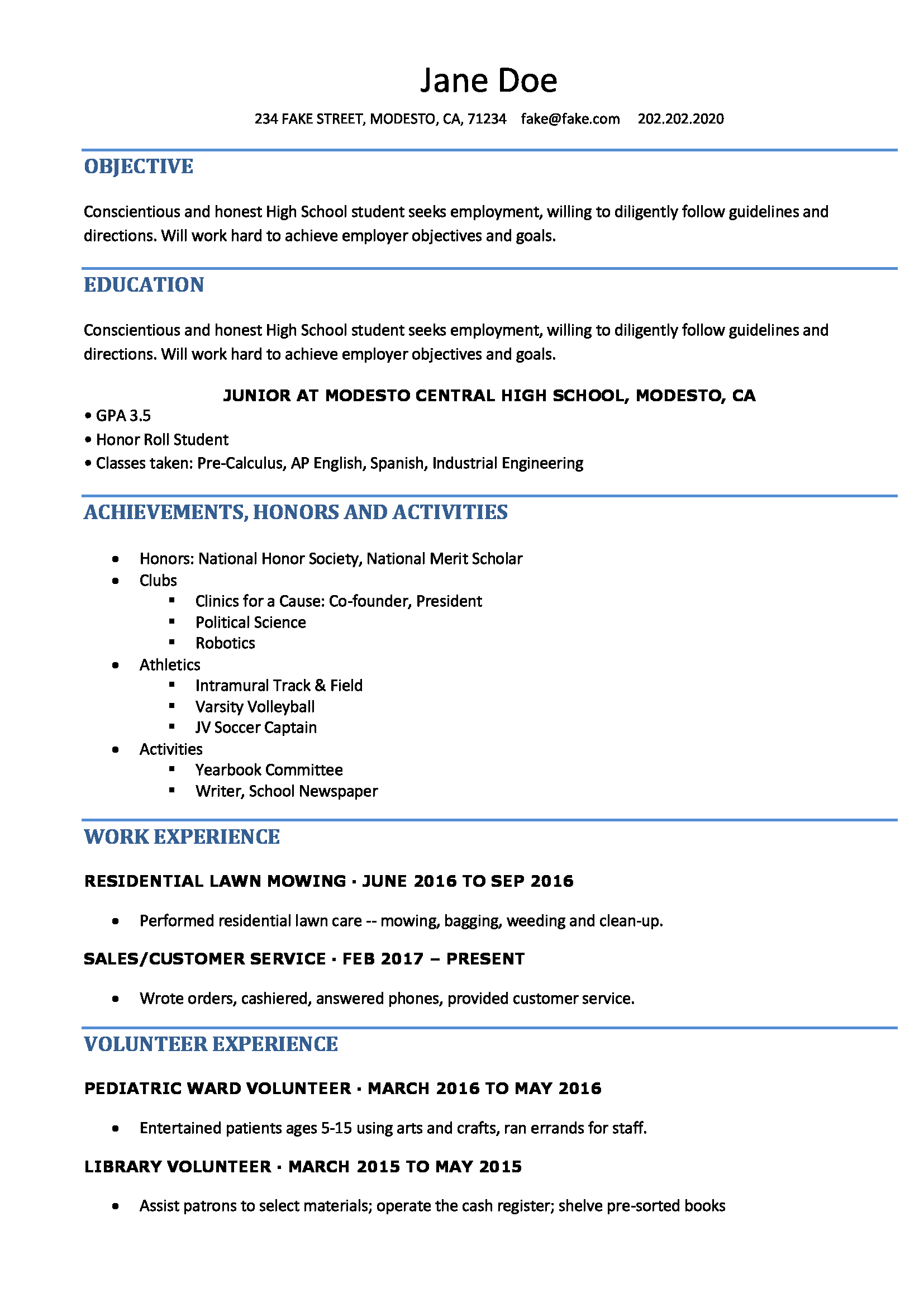 resume for highschool student